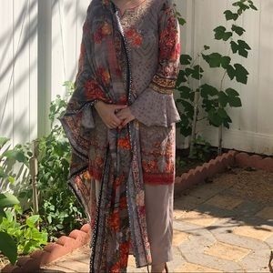 Pakistani Indian Fawn Lawn Suit with shawl Medium